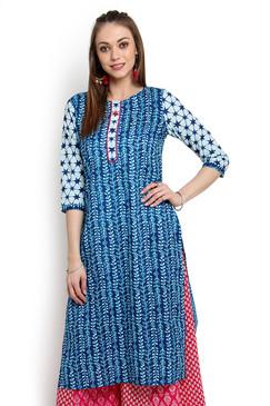 In-Sattva Women's Pure Cotton Leaf Print Classic Indian Kurta Tunic