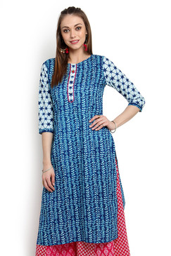 Kurta Tunic Women's Indian Pure Cotton Leaf Print - Front | In-Sattva