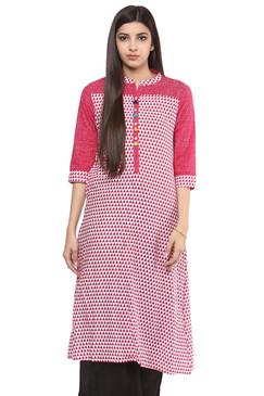 In-Sattva Women's Pure Cotton Diamond Print Indian Long Kurta Tunic