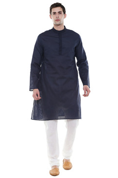 In-Sattva Men's Indian Two-Piece Ensemble Pure Cotton Clothing Navy