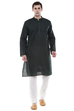 In-Sattva Men's Indian Two-Piece Ensemble Pure Cotton Clothing Green