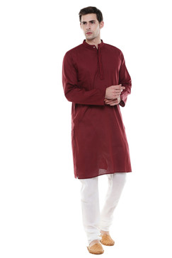 In-Sattva Men's Indian Two-Piece Ensemble Pure Cotton Clothing Maroon