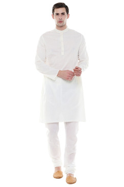 In-Sattva Men's Indian Two-Piece Ensemble Pure Cotton Clothing Off White