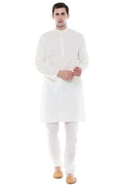 Men's Two-Piece Ensemble - Off White Pure Cotton Kurta Pajama - Full Display   In-Sattva
