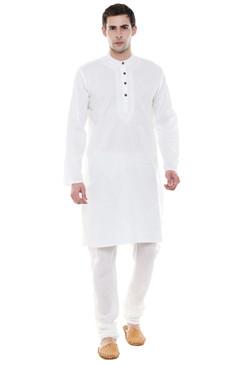 In-Sattva Men's Indian Two-Piece Ensemble White Kurta Pajama Pure Cotton