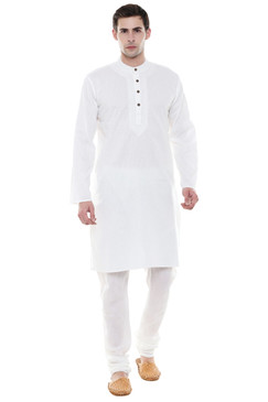 Men's Two-Piece Ensemble - White Pure Cotton Kurta Pajama - Full Display   In-Sattva