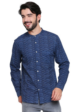 Men's Shirt - Blue Pure Cotton Fabric with Long Sleeves | In-Sattva - Front