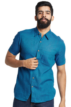 Fitted Men's Shirt - French Blue with Summer Short Sleeves - Front | In-Sattva
