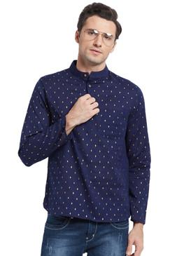 Men's Shirt-Length Untucked Printed Kurta Tunic - Front | In-Sattva