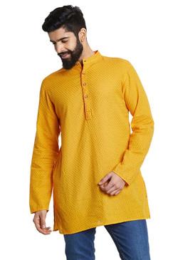 Shatranj Men's Indian Mandarin Collar Summer Sunshine Dobby Print Kurta Tunic