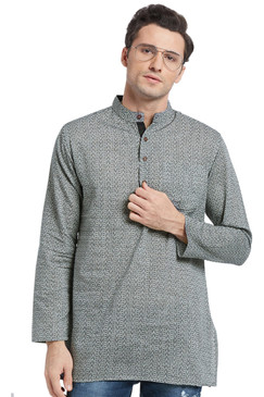 Men's Kurta Tunic: Banded Collar with Charcoal Color Print - Front | In-Sattva