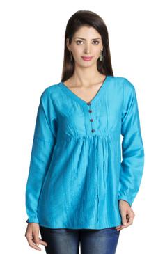 MOHR Women's Blue Tunic Shirt with V-Neck and Full Length Sleeves Ì´Ì_ÌÎ̝ÌÎÌ¥ Front