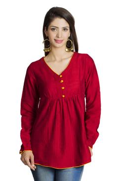 MOHR Women's Red Tunic Shirt with V-Neck and Full Length Sleeves Ì´Ì_ÌÎ̝ÌÎÌ¥ Front
