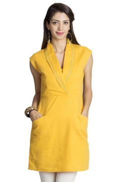 MOHR Women's Dark Yellow Tunic with Shawl Collar Ì´Ì_ÌÎ̝ÌÎÌ¥ Front