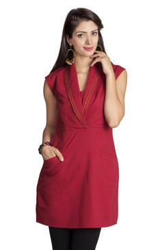 MOHR Women's Dark Red Tunic with Shawl Collar Ì´Ì_ÌÎ̝ÌÎÌ¥ Front