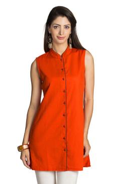 MOHR Women's Dark Orange Tunic Shirt with Mandarin Collar Ì´Ì_ÌÎ̝ÌÎÌ¥ Front
