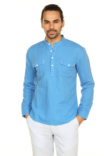 A.N.D. by Anita Dongre Double Breasted Pocket Pullover Tunic with Mandarin Collar - Front