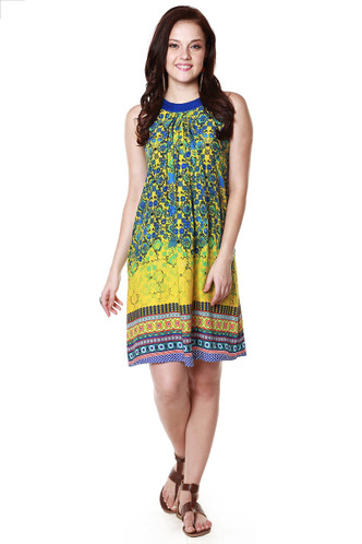 Global Desi Womens Boho Multi-Stripe Printed Decorative Hem Dress - Front