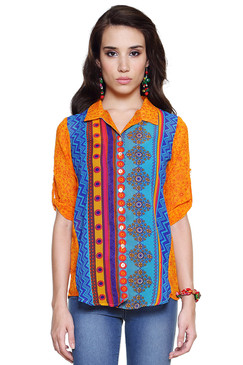 Global Desi Womens Boho Multi-Stripe Button Down Top - Front