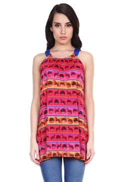 Global Desi Womens Boho Wig Print Sleeveless Tunic - Front