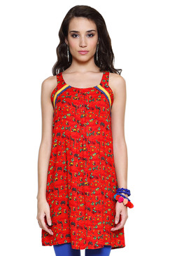 Global Desi Womens Boho Printed Sleeveless Long Tunic - Front