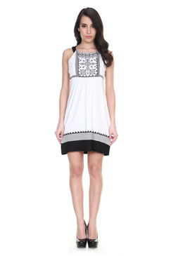 Global Desi Womens Boho Embroidered Yoke and Hem Dress - Front