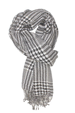 In-Sattva Colors - Checkered Houndstooth Scarf Stole ‰ÛÒ White