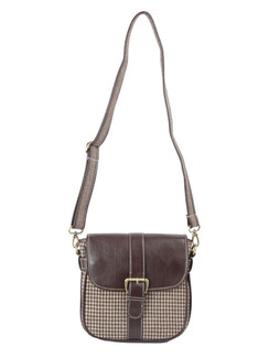 Ivory Tag Brown Leather & Houndstooth Crossbody Bag ‰ÛÒ Front