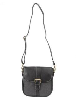 Ivory Tag Black Leather & Twill Crossbody Bag ‰ÛÒ Front