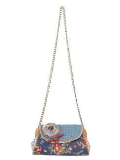 Ivory Tag Leather & Fabric Floral Blossom Clutch ‰ÛÒ Front