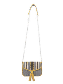 Ivory Tag Yellow Stripe Leather & Canvas Crossbody Bag ‰ÛÒ Front