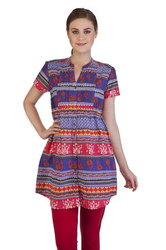 MB Women's Indian Style Clothing Fitted Short Sleeve Kurta Tunic ‰ÛÒ Blue Front