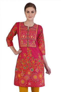 MB Indian Clothing Style Long Kurta Tunic with Bandhani Print Extended Yoke till Waist ‰ÛÒ Front