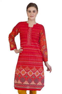 MB Women's Indian Clothing Style Kurta Tunic with Gradiating Whimsical Print ‰ÛÒ Front