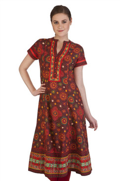 MB Indian Clothing Style Kurta Tunic with Floral Print & Embroidered Trim ‰ÛÒ Front