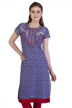 MB Women's Indian Clothing Style Kurta Tunic Red Trimmed Yoke ‰ÛÒ Front