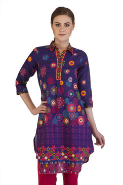 MB Women's Indian Clothing Style Kurta Tunic with Neon Circular Print ‰ÛÒ Front