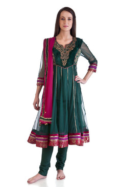 MB Women's Indian Clothing Style Ethnic Kurta Tunic Anarkali 3 piece Suit ‰ÛÒ Front