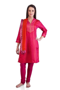 MB Women's Indian Kurta Tunic Ethnic 3 piece Suit with Hand Embroidered Yoke ‰ÛÒ Front