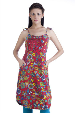 MB Womens Ethnic Floral and Geometric Printed Dress