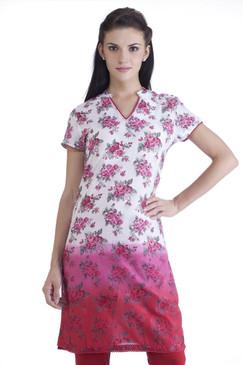MB Womens Ethnic Rose Printed Gradation Kurta Tunic ‰ÛÒ Pink
