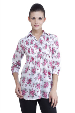 MB Womens Ethnic Rose Printed Top with Pintucks