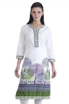 MB Womens Ethnic Forest Printed Kurta Tunic ‰ÛÒ Green