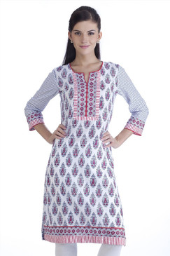 MB Womens Ethnic Floral Printed Kurta Tunic