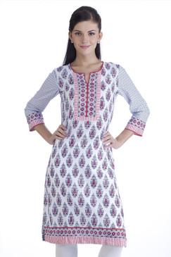 MB Womens Ethnic Floral Printed Kurta Tunic