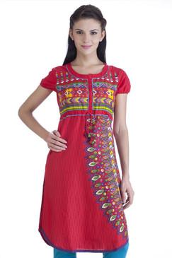 MB Womens Ethnic Geometric Printed Kurta Tunic