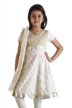 MB Girl's Indian Kurta Tunic with Silver/Gold Print and Churidar (Pants) and Dupatta (Scarf) ‰ÛÒ Front