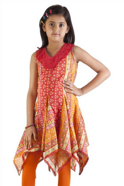MB Girl's Indian Kurta Tunic, Pleated with Uneven Hem ‰ÛÒ Front