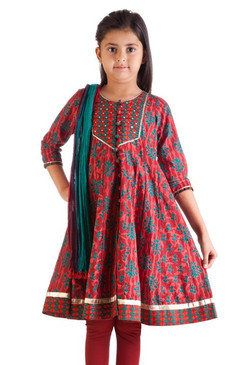 MB Girl's Indian Kurta Tunic in Teal Leaf Print with Matching Churidar (Pants) and Dupatta (Scarf) ‰- Front