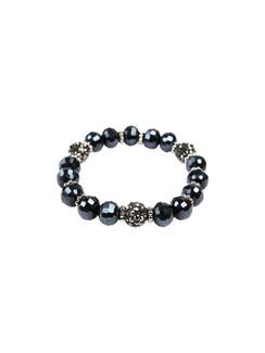 Ivory Tag Faceted Navy Blue Beaded Bracelet